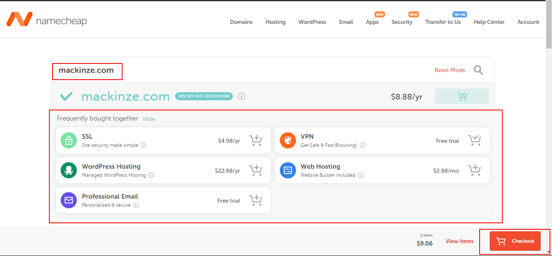 Namecheap domains checkout